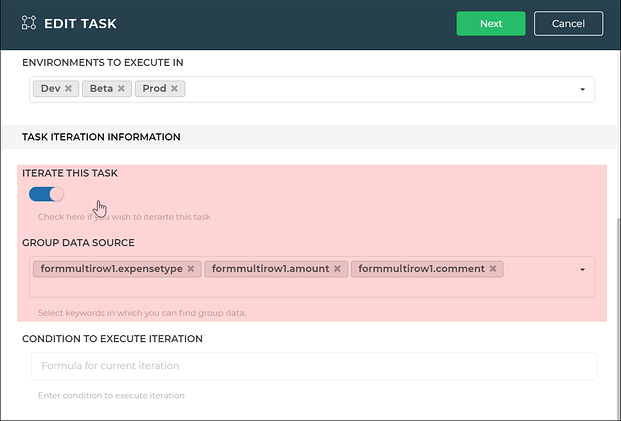iterate task