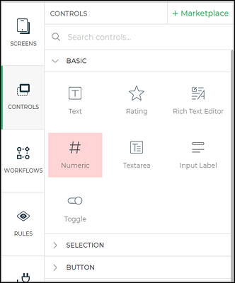 Numeric control menu