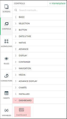 dashboard control menu