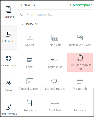 circular progress bar control menu