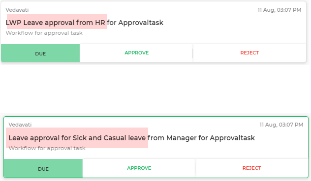 approval tasks to users