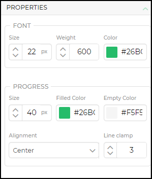 progress bar properties