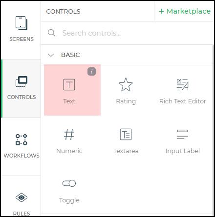 text control menu