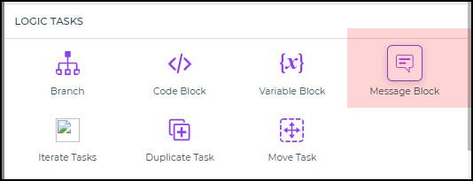 message blcok workflow