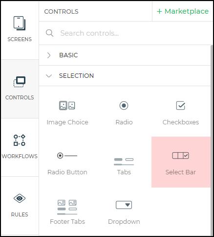 Radio button control menu